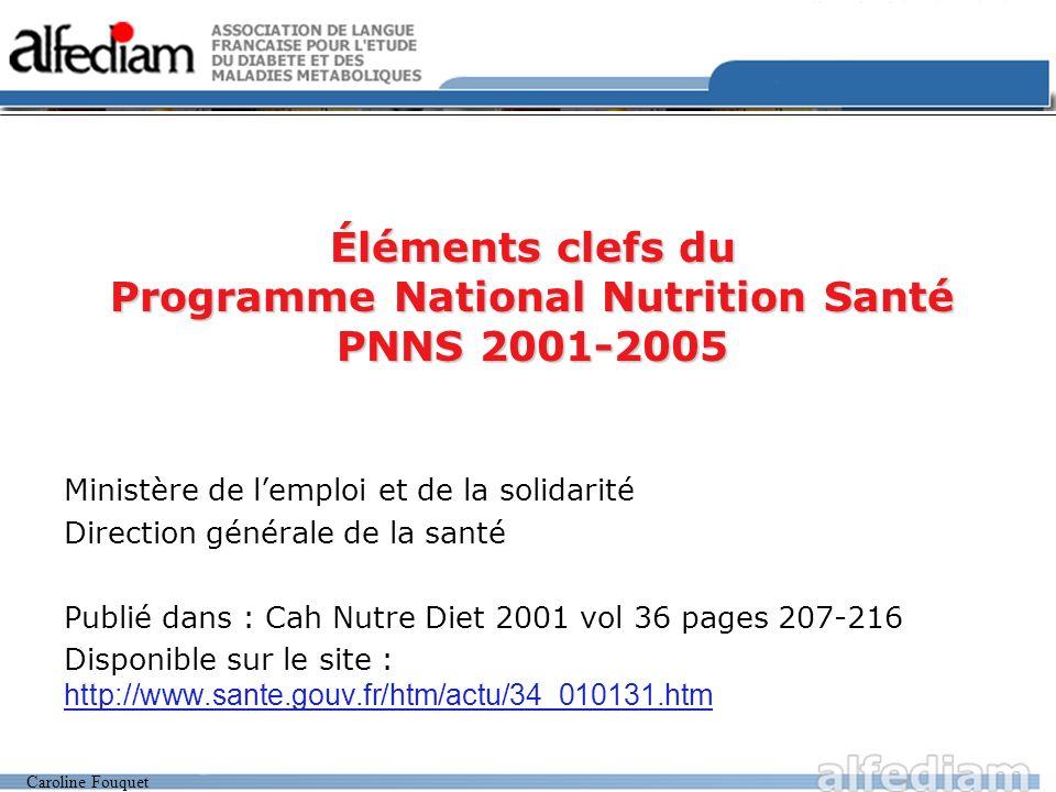 Éléments clefs du Programme National Nutrition Santé PNNS 2001-2005