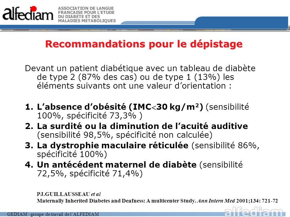 Recommandations pour le dépistage