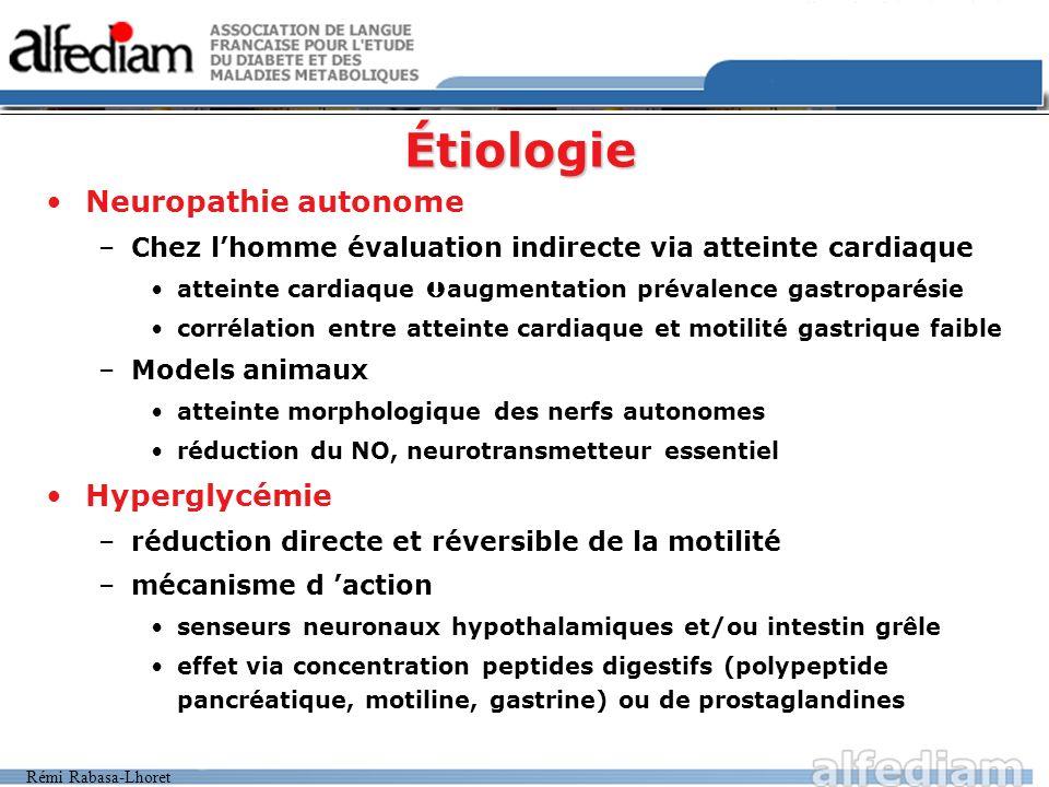 Étiologie Neuropathie autonome Hyperglycémie