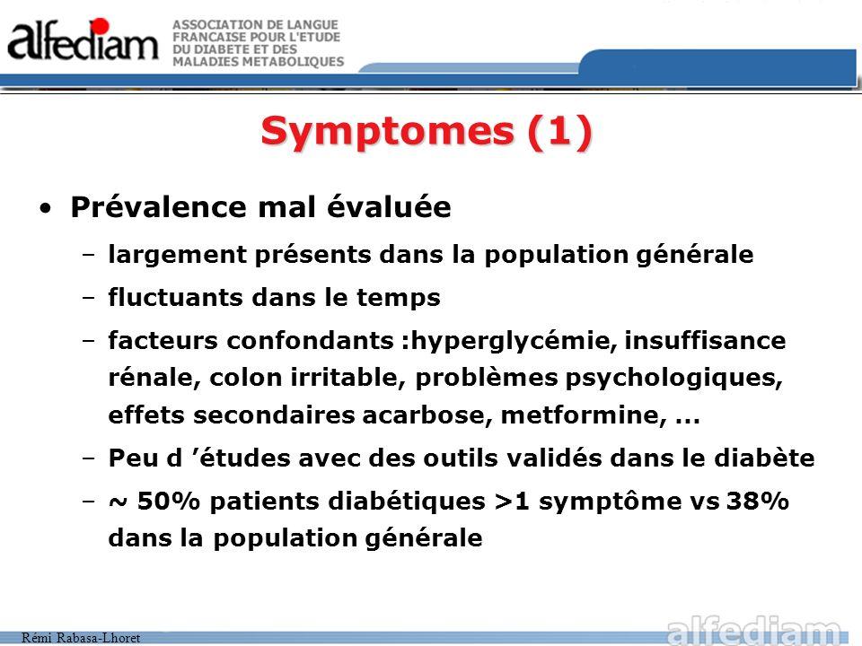Symptomes (1) Prévalence mal évaluée