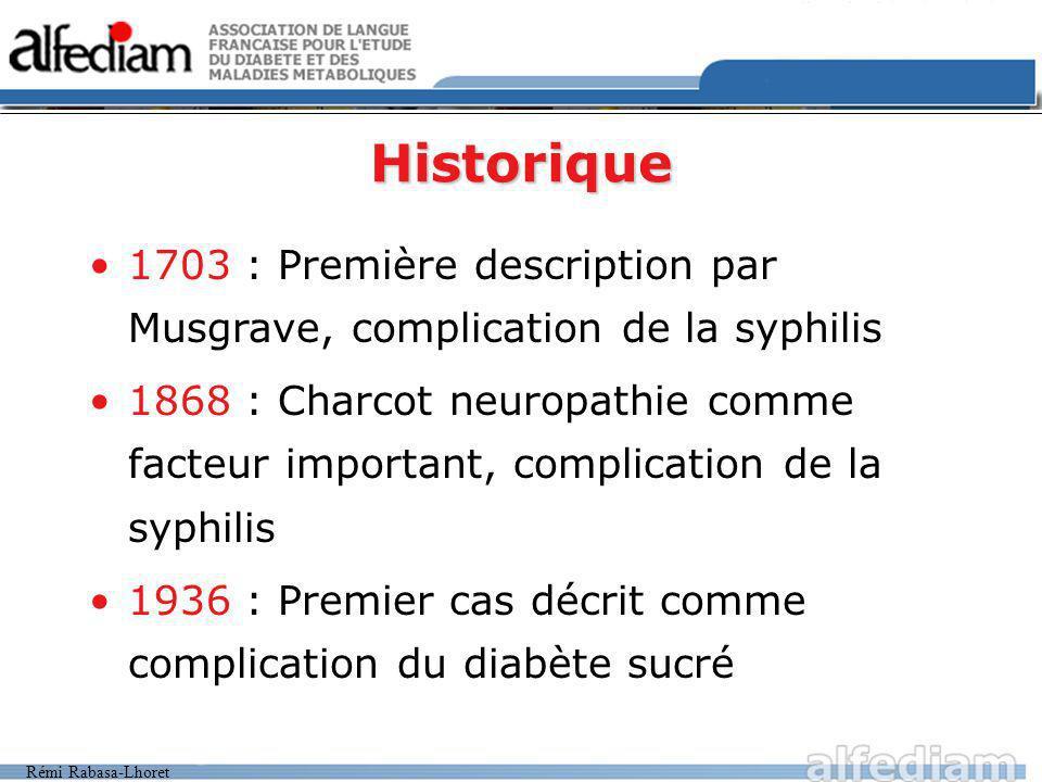 Historique 1703 : Première description par Musgrave, complication de la syphilis.