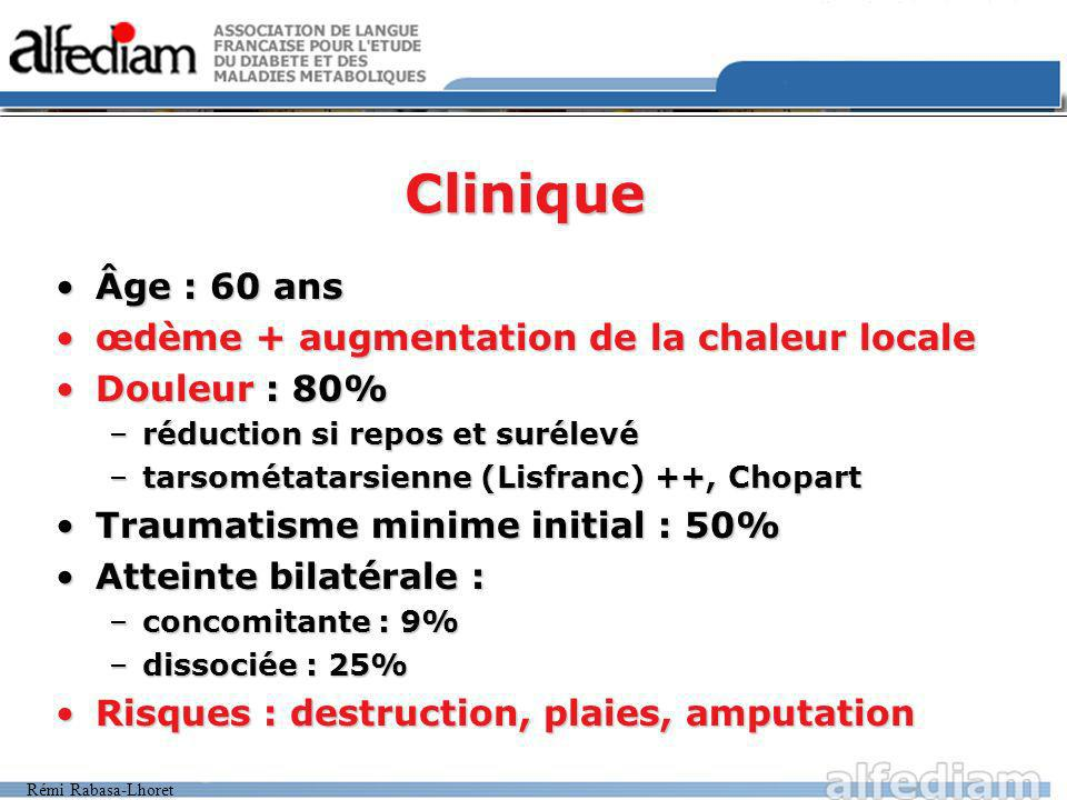 Clinique Âge : 60 ans œdème + augmentation de la chaleur locale