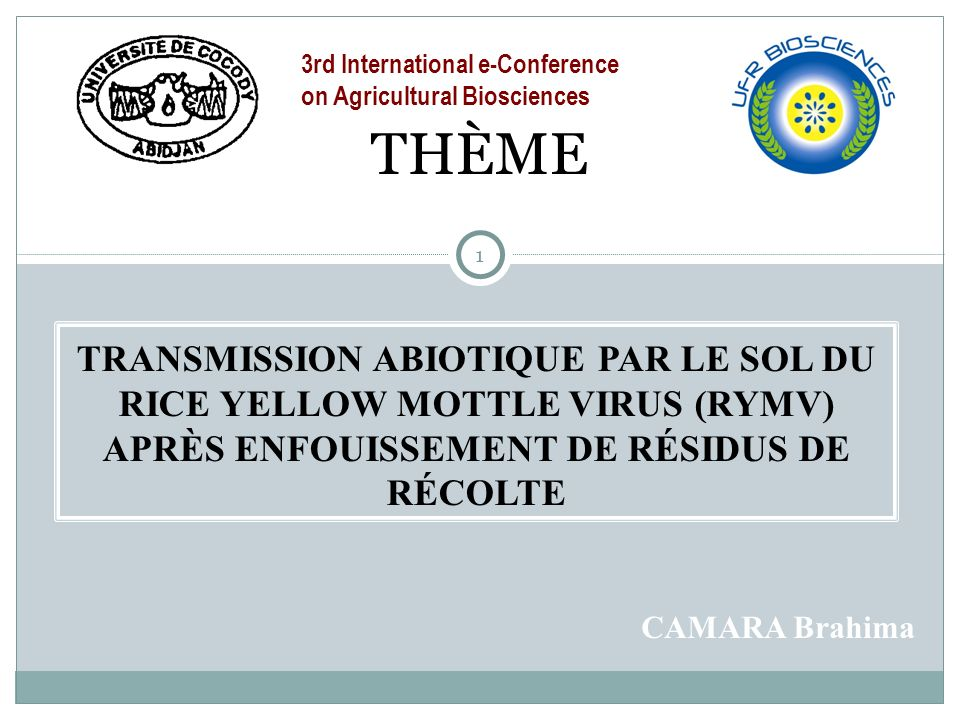 3rd International e-Conference on Agricultural Biosciences