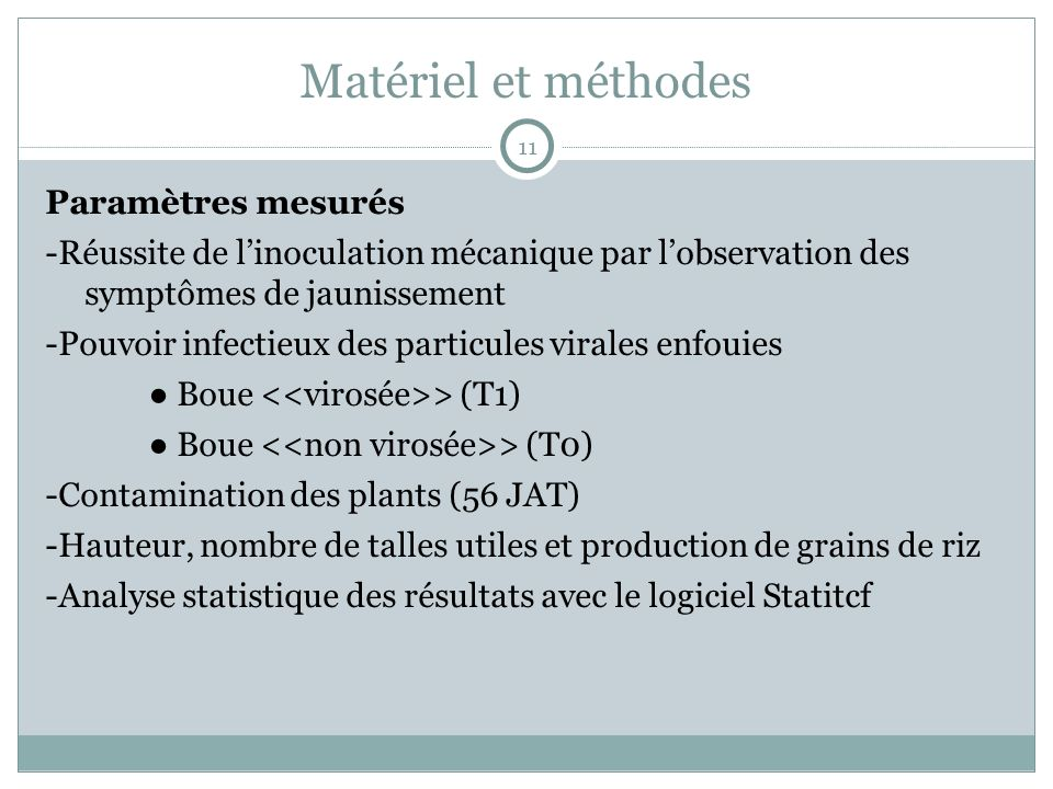 Matériel et méthodes Paramètres mesurés