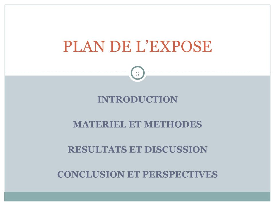 RESULTATS ET DISCUSSION CONCLUSION ET PERSPECTIVES