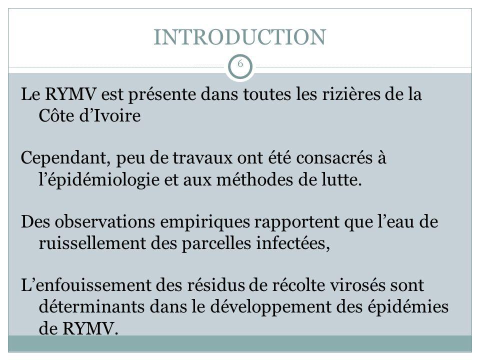 INTRODUCTION 6. Le RYMV est présente dans toutes les rizières de la Côte d'Ivoire.