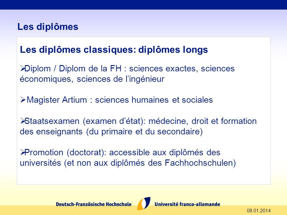 Les diplômes classiques: diplômes longs