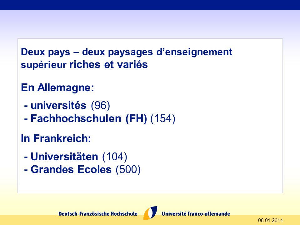 - Fachhochschulen (FH) (154) In Frankreich: - Universitäten (104)