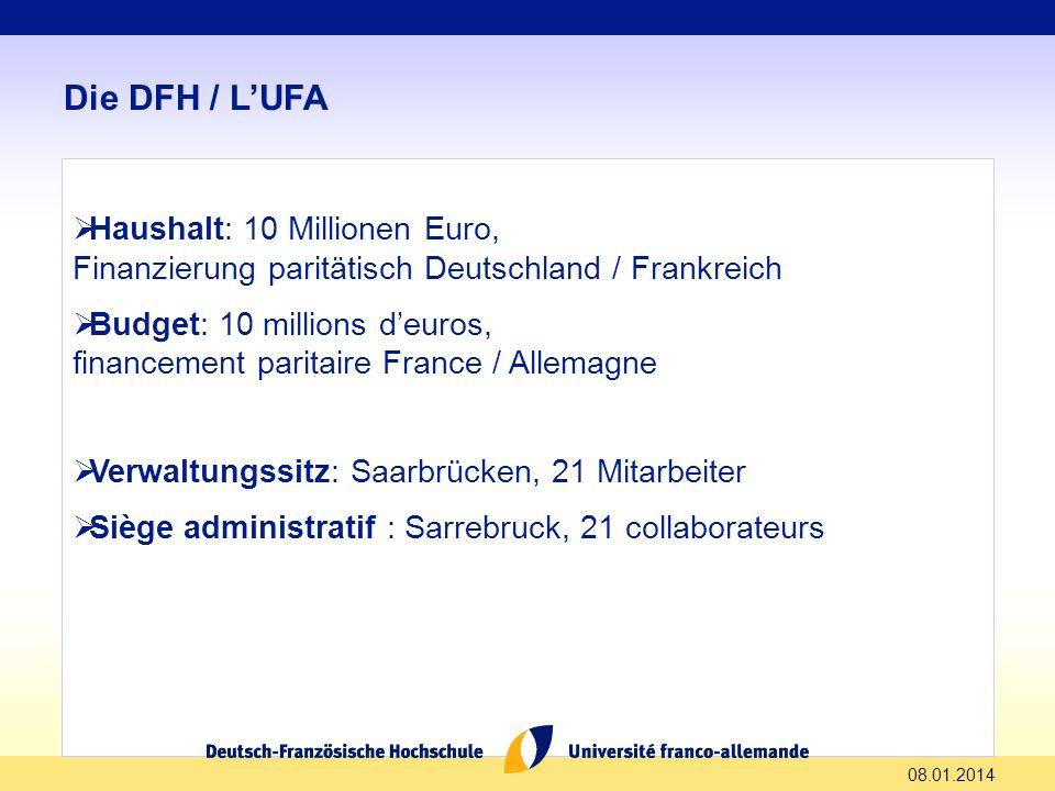 Die DFH / L'UFA Haushalt: 10 Millionen Euro,