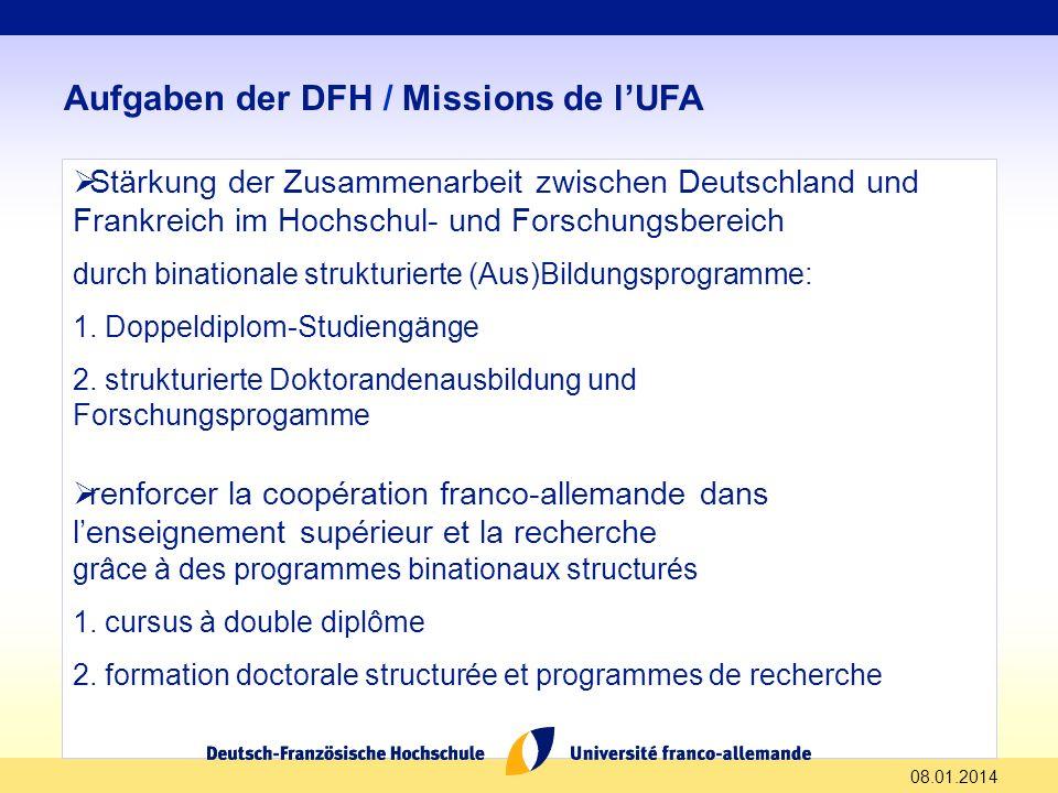 Aufgaben der DFH / Missions de l'UFA
