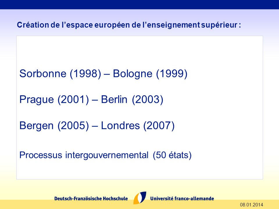 Sorbonne (1998) – Bologne (1999) Prague (2001) – Berlin (2003)