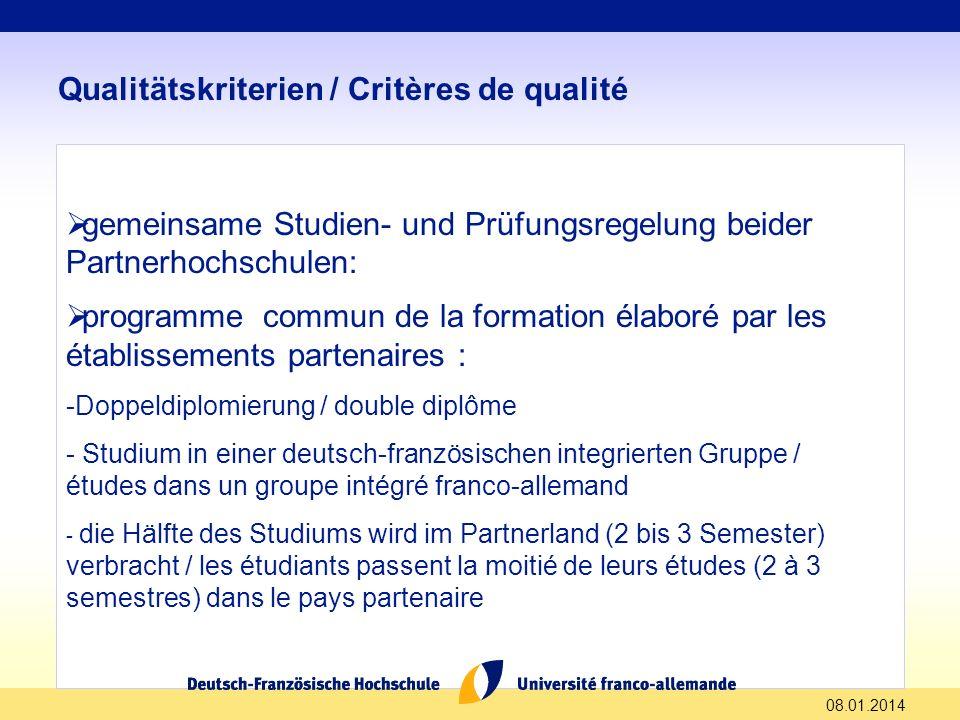 Qualitätskriterien / Critères de qualité