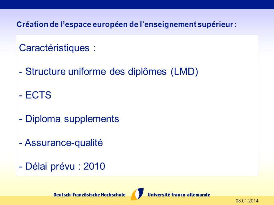 Structure uniforme des diplômes (LMD) ECTS Diploma supplements