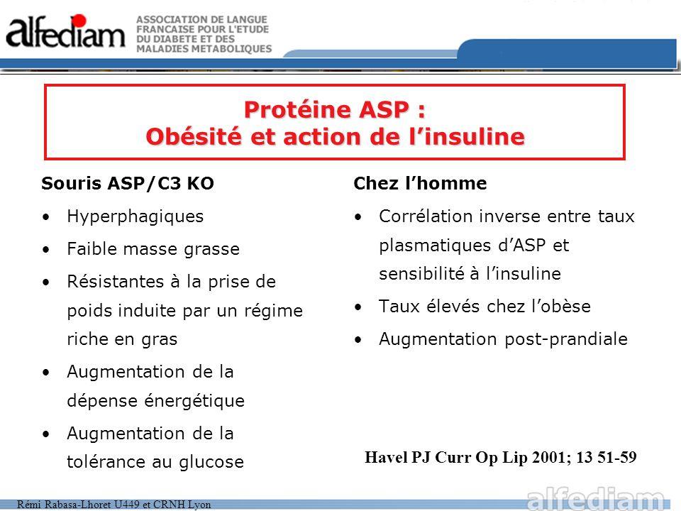 Protéine ASP : Obésité et action de l'insuline