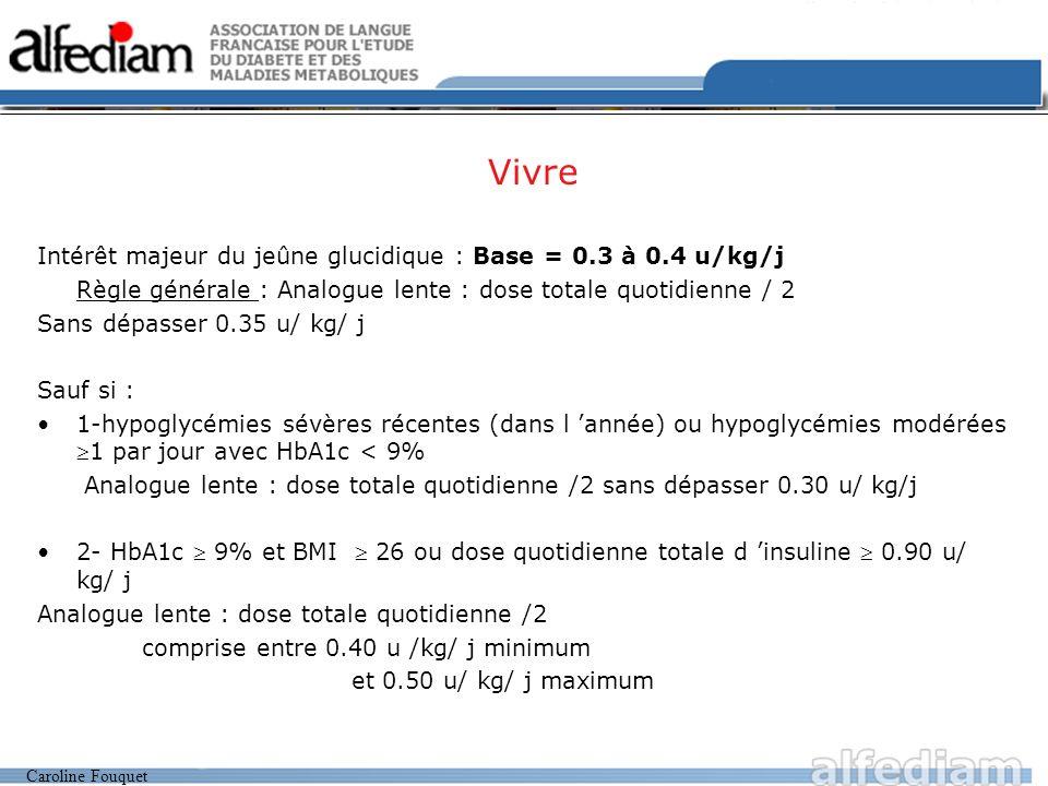 Vivre Intérêt majeur du jeûne glucidique : Base = 0.3 à 0.4 u/kg/j