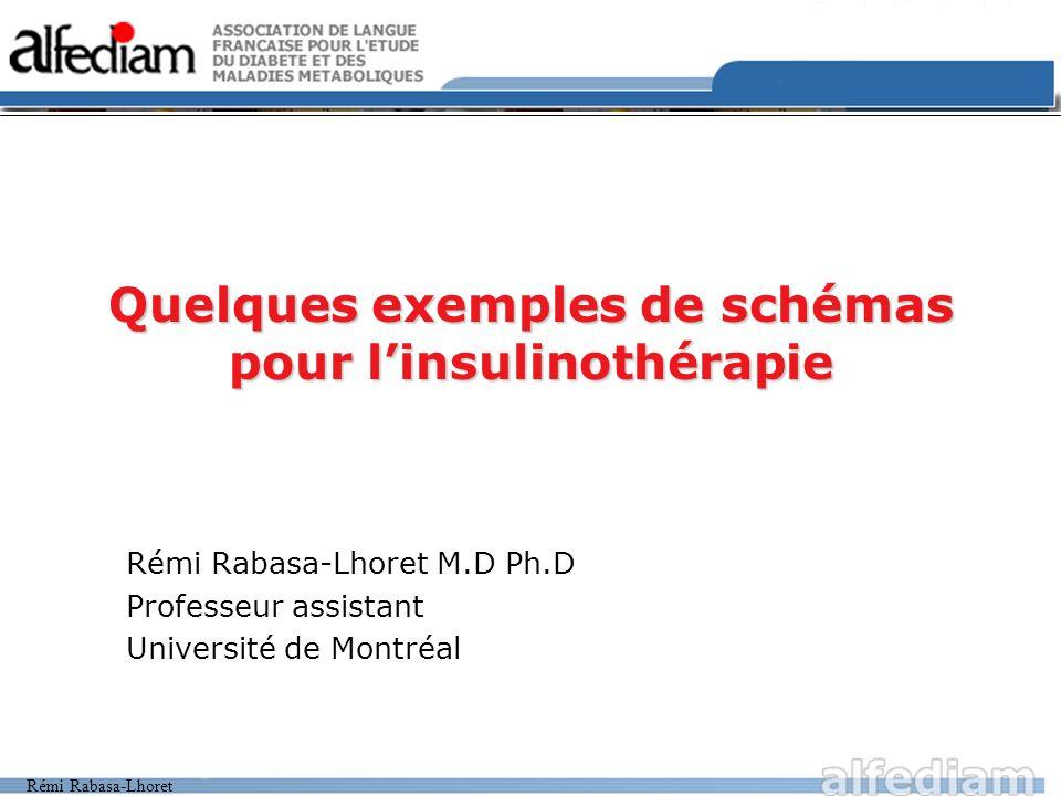 Quelques exemples de schémas pour l'insulinothérapie