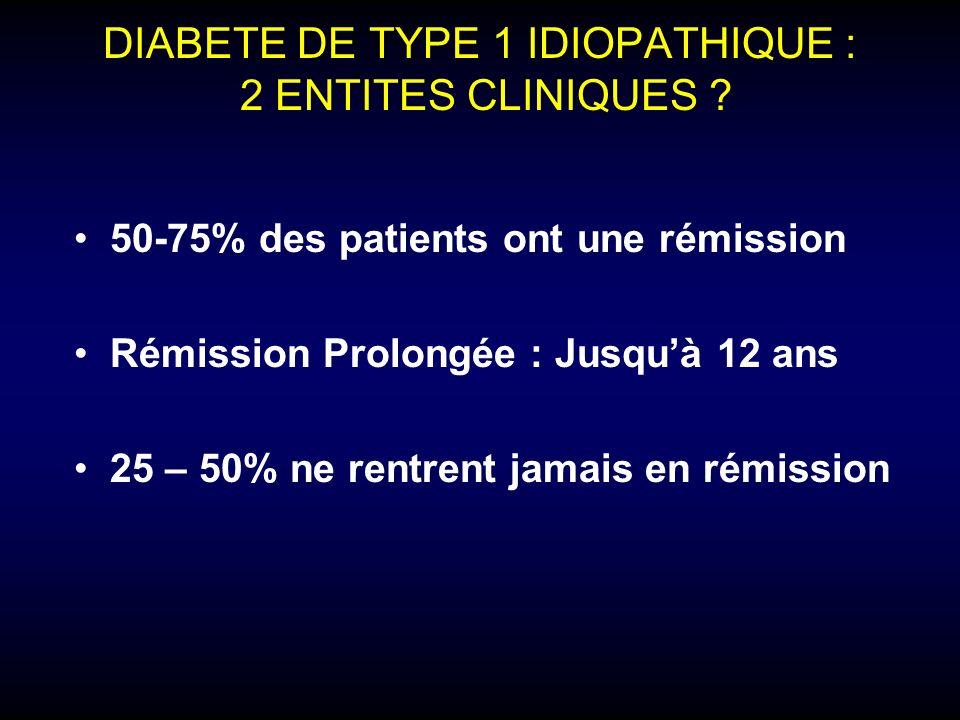 DIABETE DE TYPE 1 IDIOPATHIQUE : 2 ENTITES CLINIQUES