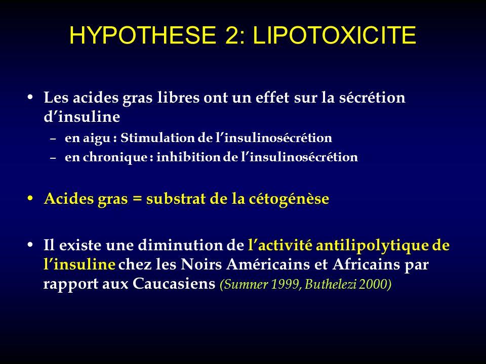 HYPOTHESE 2: LIPOTOXICITE