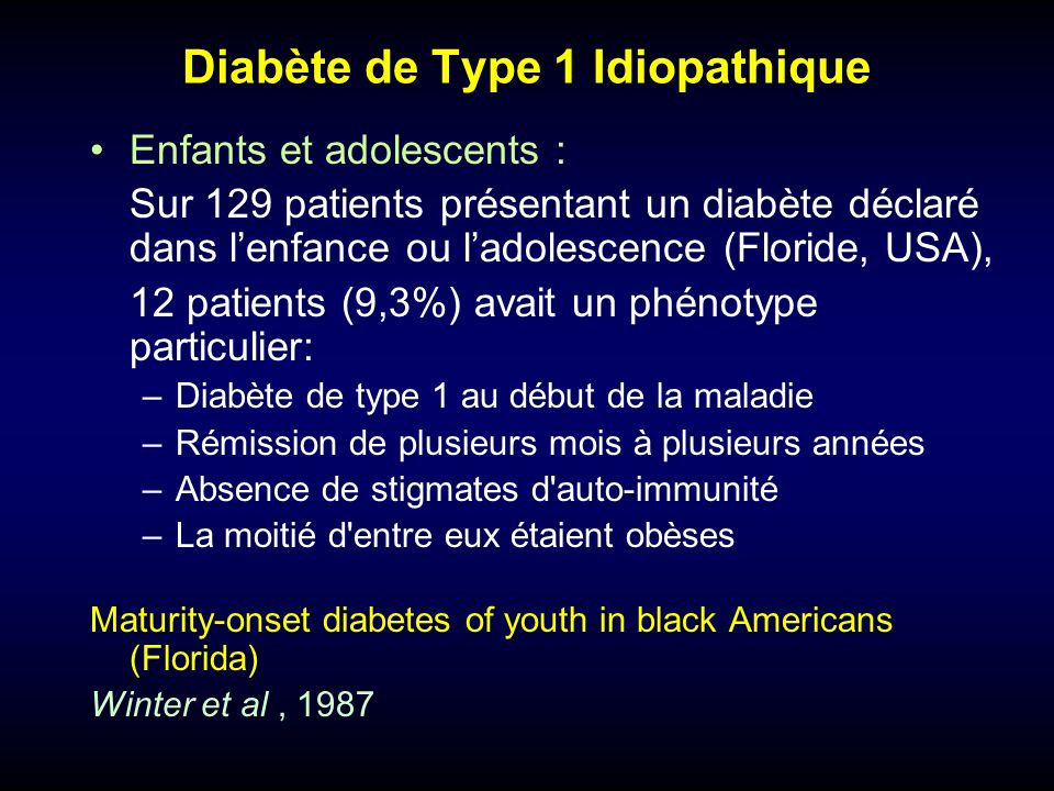 Diabète de Type 1 Idiopathique