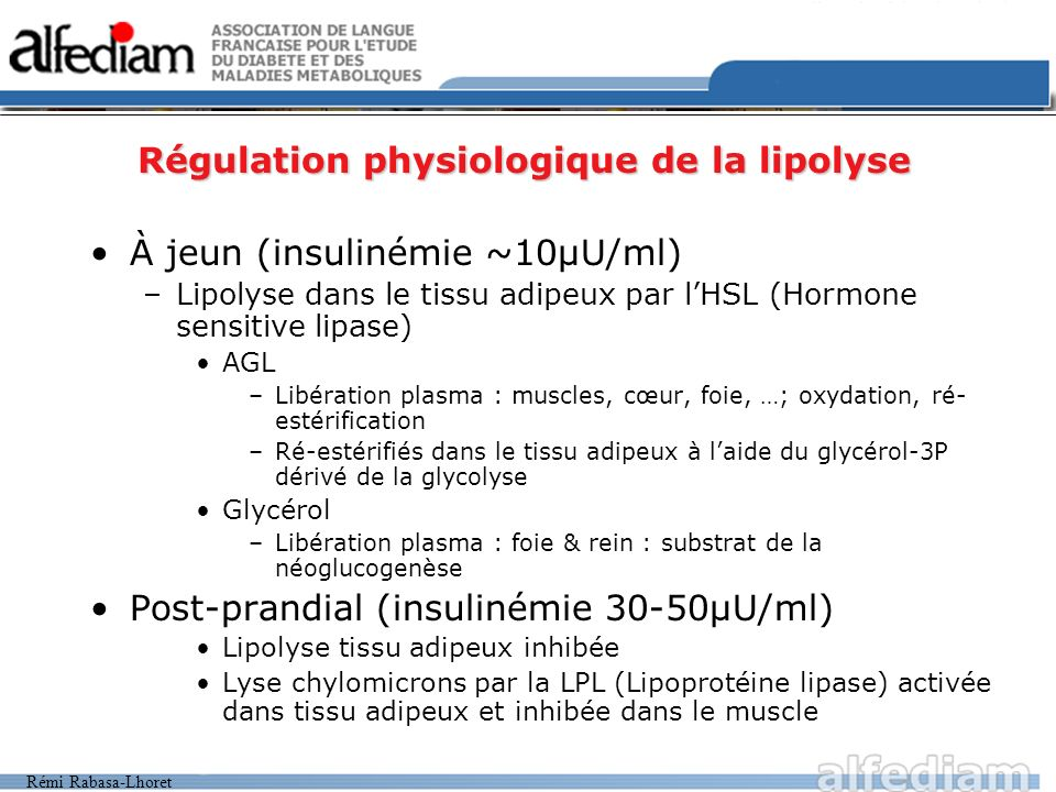 Régulation physiologique de la lipolyse