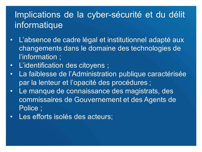 Implications de la cyber-sécurité et du délit informatique
