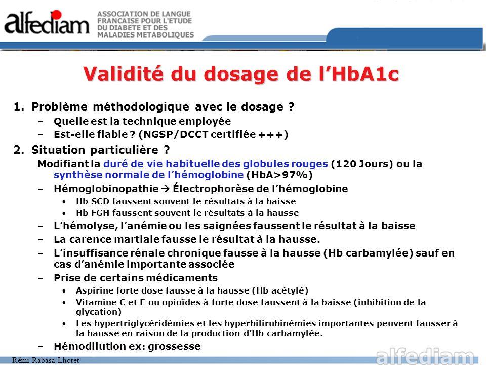 Validité du dosage de l'HbA1c