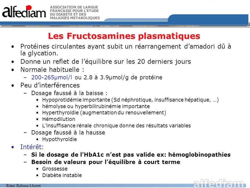 Les Fructosamines plasmatiques