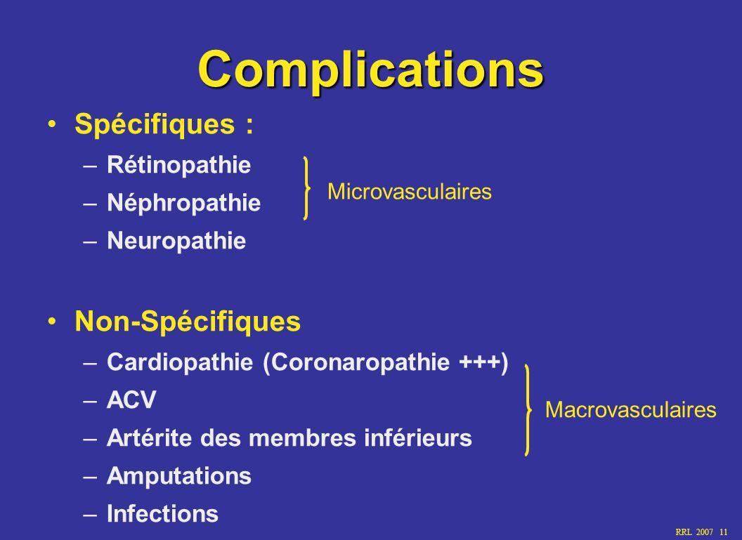 Complications Spécifiques : Non-Spécifiques Rétinopathie Néphropathie