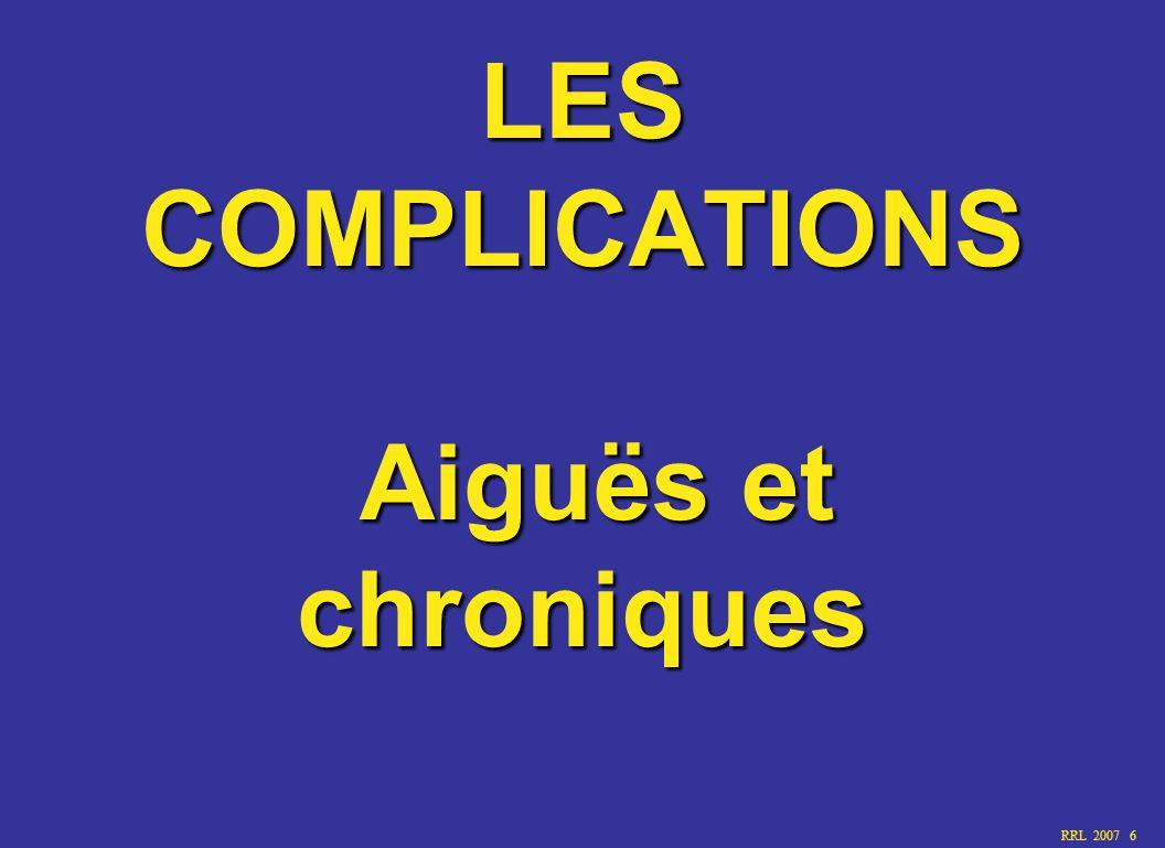 LES COMPLICATIONS Aiguës et chroniques