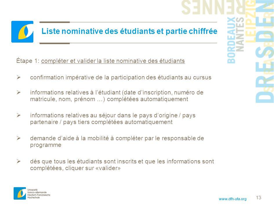 Liste nominative des étudiants et partie chiffrée