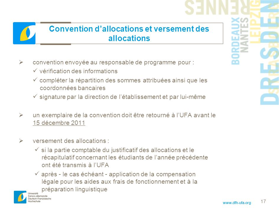 Convention d'allocations et versement des allocations