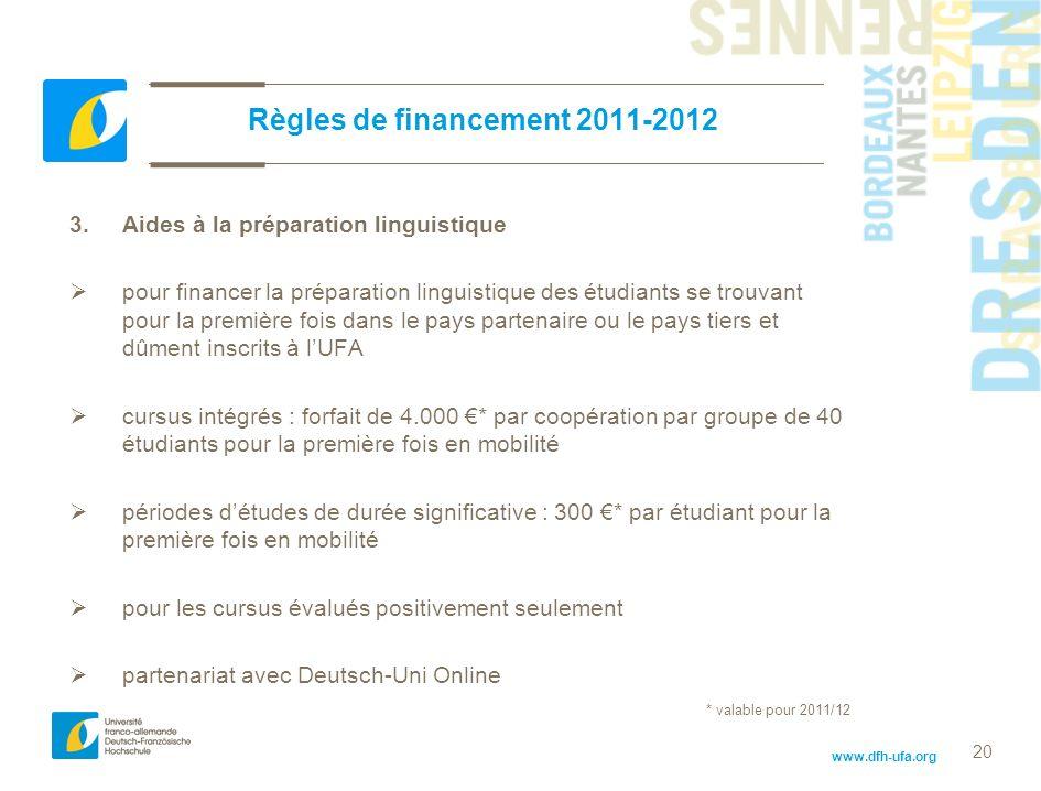 Règles de financement 2011-2012