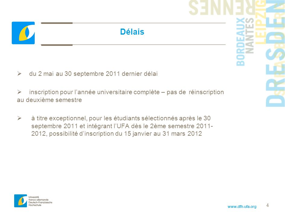 Délais du 2 mai au 30 septembre 2011 dernier délai