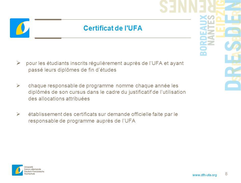 Certificat de l UFA pour les étudiants inscrits régulièrement auprès de l'UFA et ayant passé leurs diplômes de fin d'études.