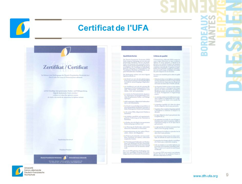 Certificat de l UFA