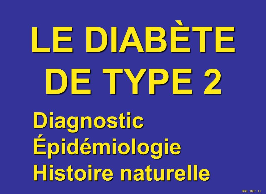 LE DIABÈTE DE TYPE 2 Diagnostic Épidémiologie Histoire naturelle
