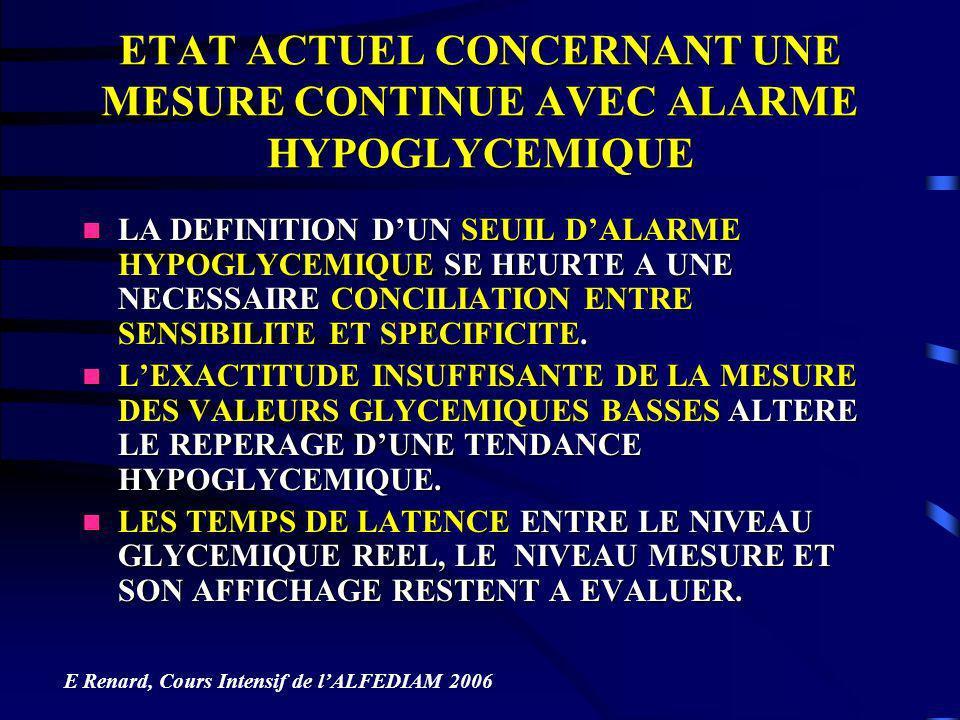 ETAT ACTUEL CONCERNANT UNE MESURE CONTINUE AVEC ALARME HYPOGLYCEMIQUE
