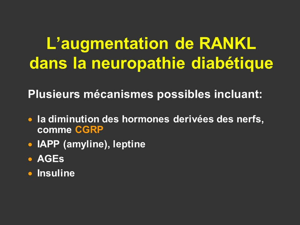 L'augmentation de RANKL dans la neuropathie diabétique