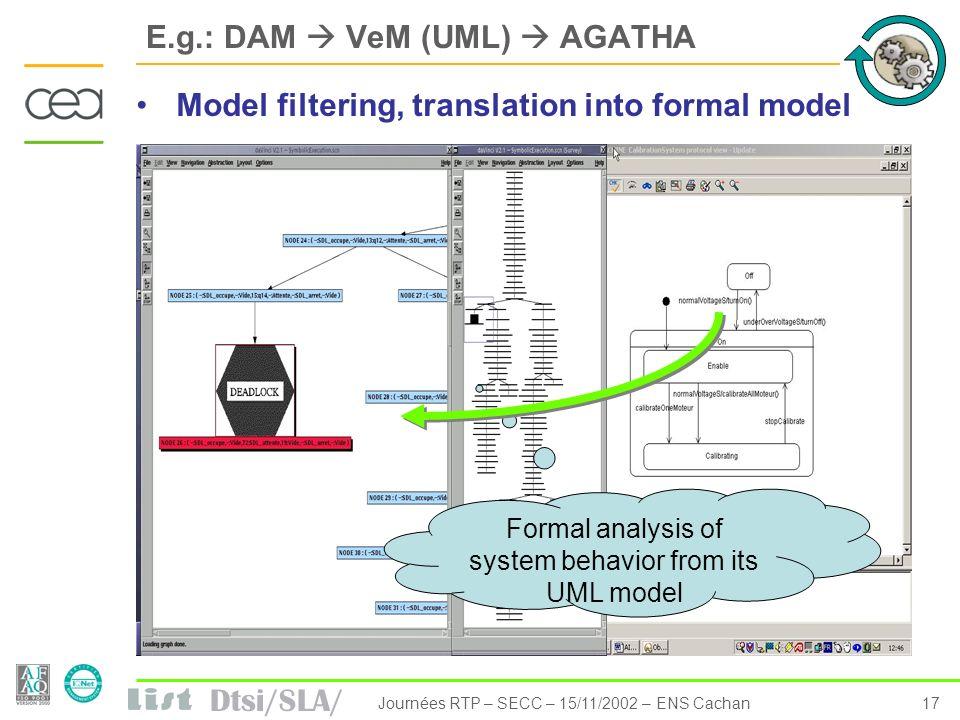 E.g.: DAM  VeM (UML)  AGATHA