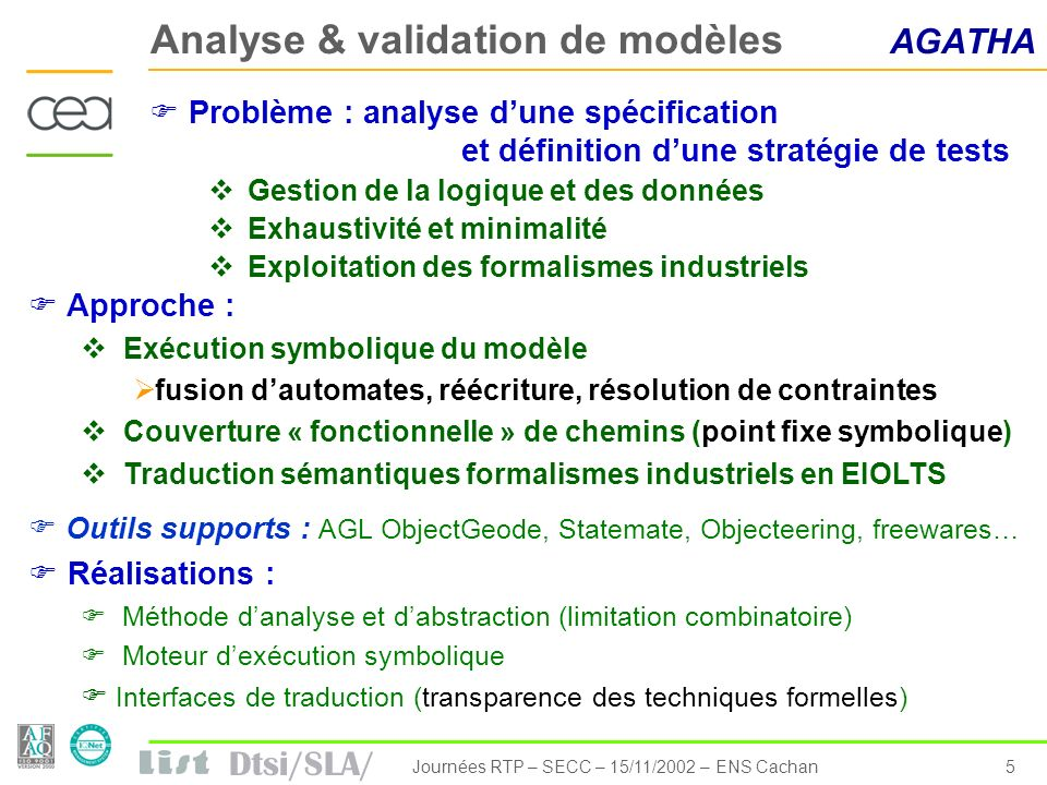 Analyse & validation de modèles AGATHA