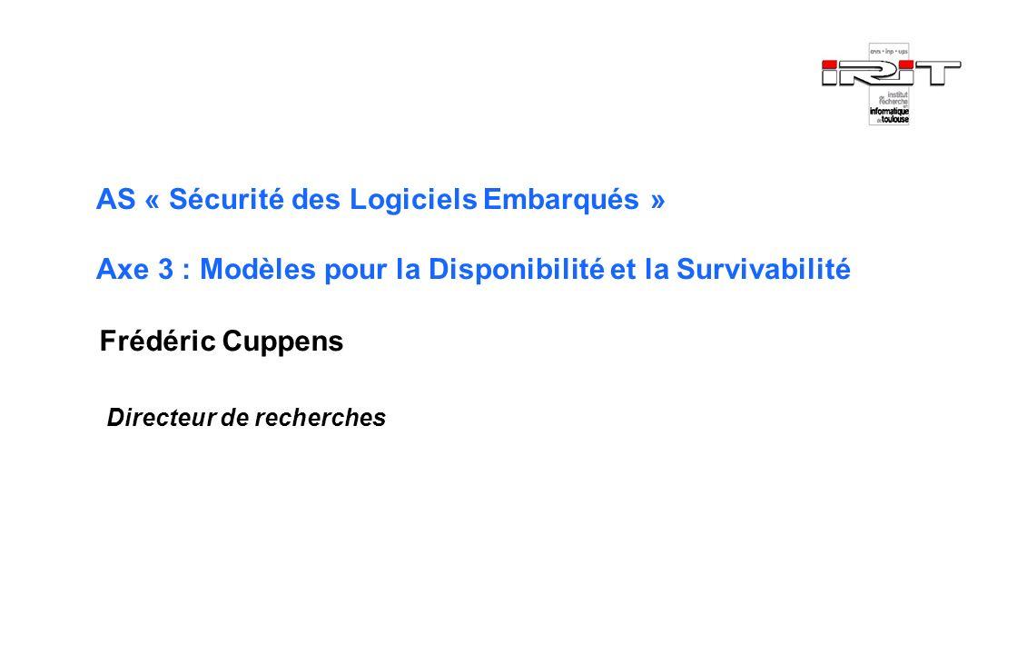 AS « Sécurité des Logiciels Embarqués » Axe 3 : Modèles pour la Disponibilité et la Survivabilité