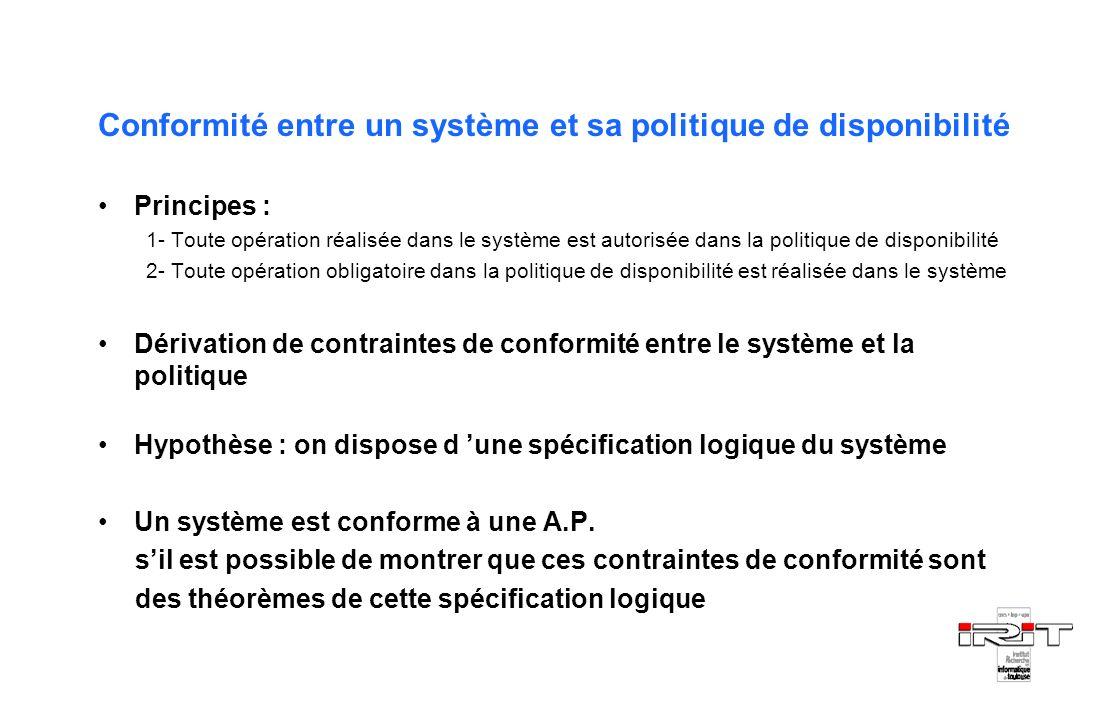 Conformité entre un système et sa politique de disponibilité