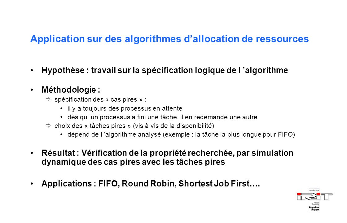 Application sur des algorithmes d'allocation de ressources