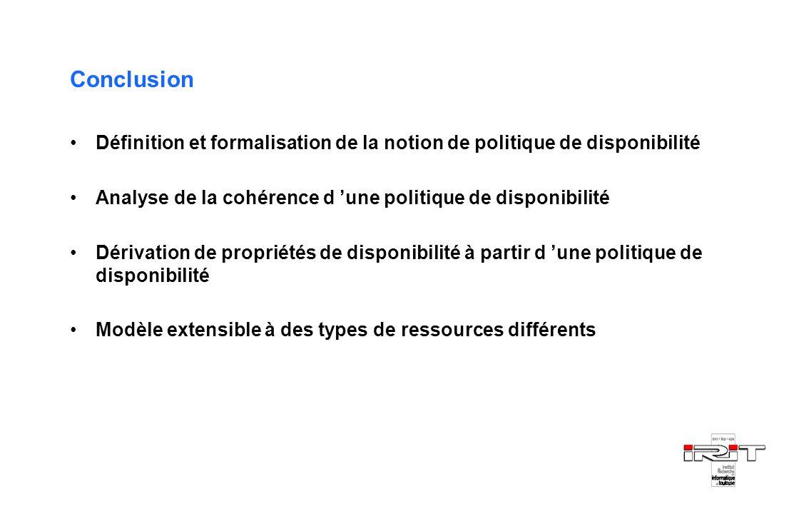 Conclusion Définition et formalisation de la notion de politique de disponibilité. Analyse de la cohérence d 'une politique de disponibilité.