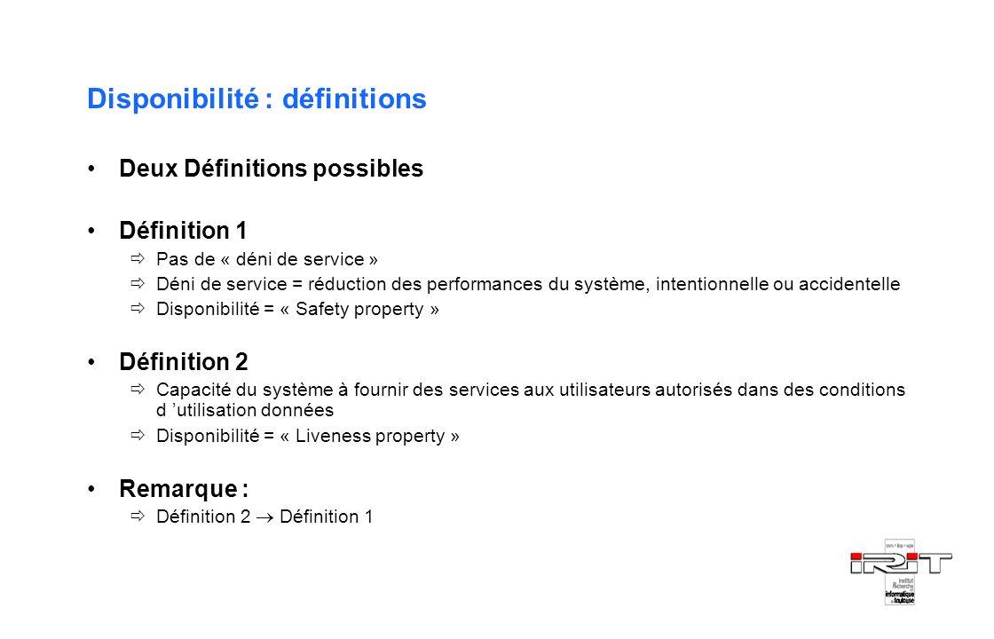 Disponibilité : définitions