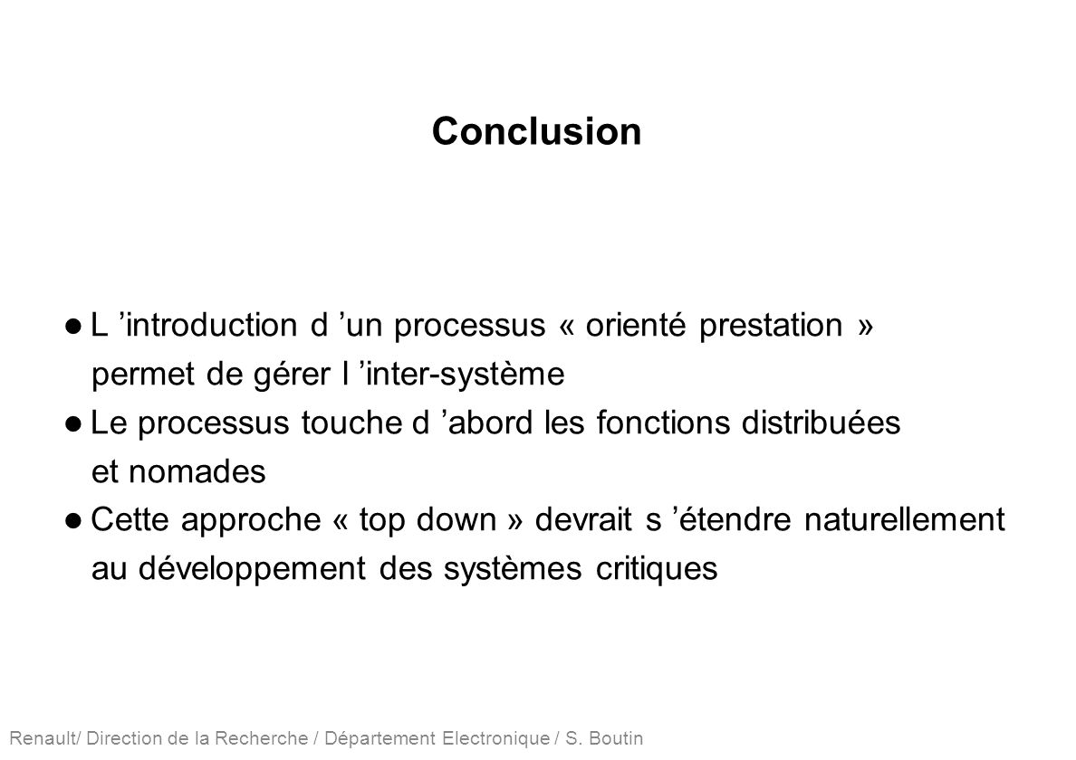 Conclusion L 'introduction d 'un processus « orienté prestation »