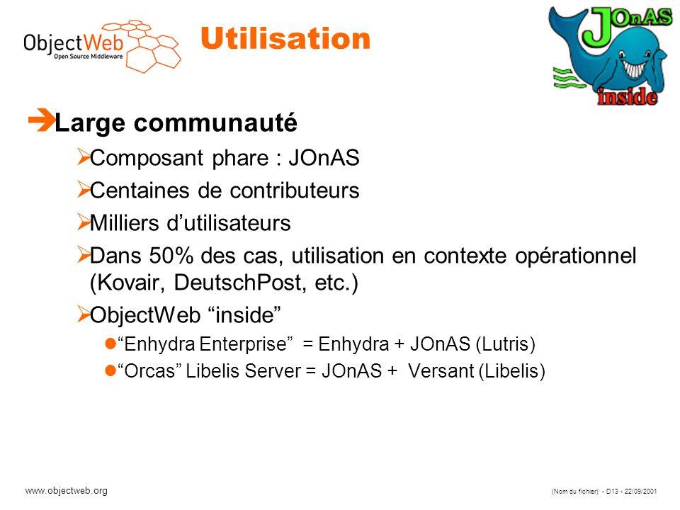 Utilisation Large communauté Composant phare : JOnAS