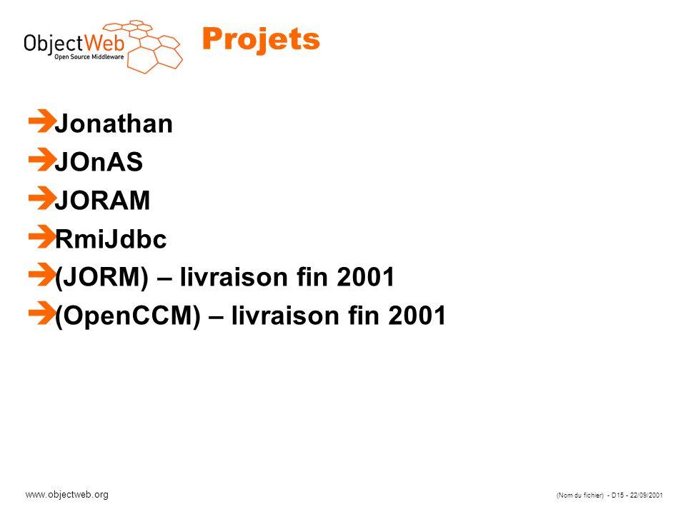 Projets Jonathan JOnAS JORAM RmiJdbc (JORM) – livraison fin 2001