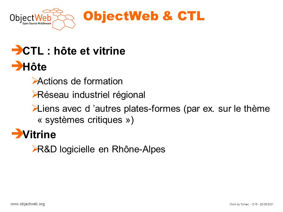 ObjectWeb & CTL CTL : hôte et vitrine Hôte Vitrine