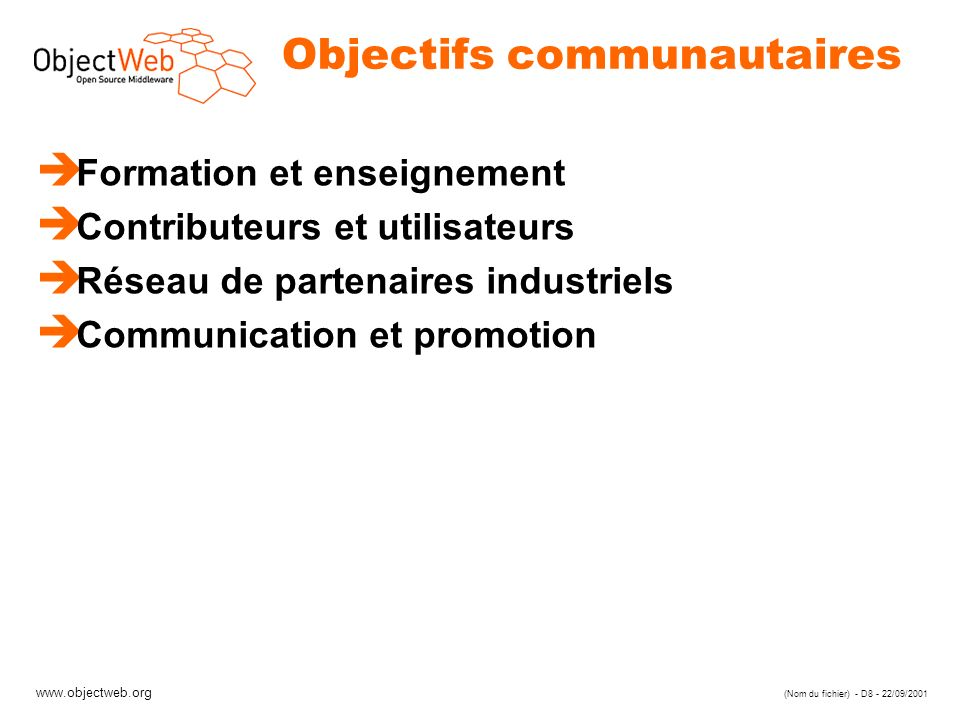 Objectifs communautaires